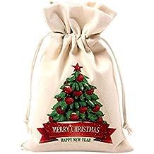 Gespout Natural Yute Bolsa de Tela Lona Bolsitas de Navidad Candy Regalo Bolsas Almacenamiento y organización