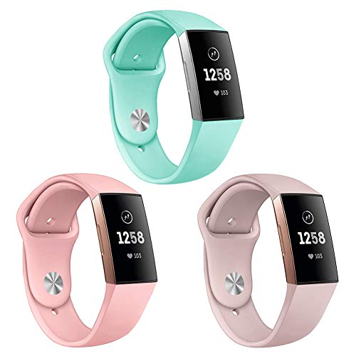 Kmasic Sport Armband kompatibel mit Fitbit Charge 3 & 3 SE, weichen Silikonband Ersatz-Armband Fitbit Charge 3 Smart Fitness-Uhr, Groß, 3 Pack-Sand Pink/Rosa/Teal