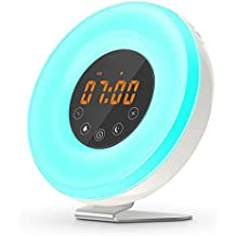 Wake Up Light,DUNQI Despertador de Luz Despertador 7 Colores 6 sonidos de la naturaleza