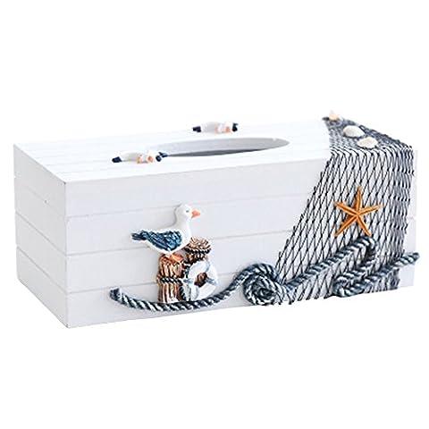 Dopromal Handgefertigter Taschentuch-Spender, Anker-Design, Holzbox, Dekorative Taschentuchbox/Halter für Küche, Bad, WC usw. (Br Küche)