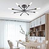 Lingkai Lampada a sospensione Modern Style Flush Mount Designers Lampada da soffitto in metallo Lampadario Apparecchio di illuminazione Black 8 Light