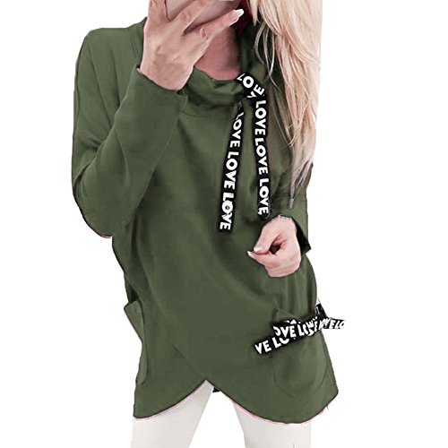 Damen Kapuzenpullover ,Lonshell Frauen Langärmlig Pullover Rollkragen unregelmäßig Kapuzenpulli Festlich T-shirt Xmas Sweatshirt Pulli Drucken Mädchen Übergroß Hoodie (S, Armee Grün) (Rollkragenpullover Mädchen Pulli)