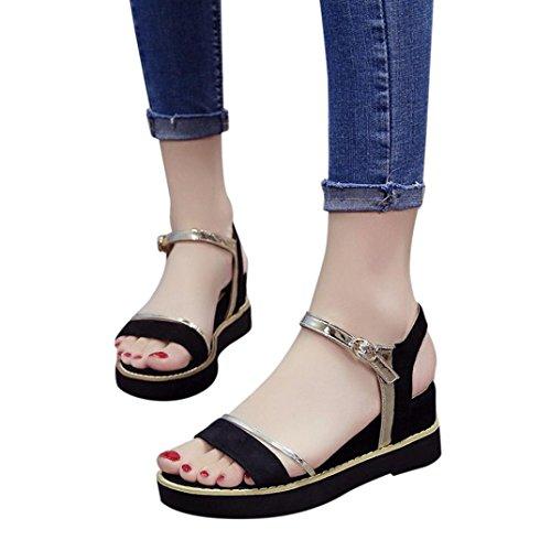 Scarpe da donna,sandali,sneaker donna,yanhoo®estate aumenta muffin fish head sandali con plateau sandali scarpe semplici (37=asia 38, nero)