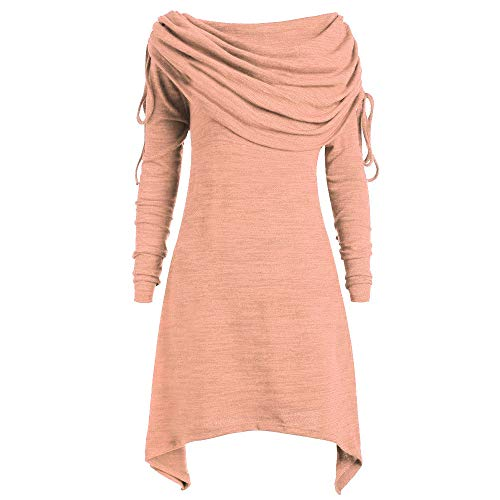Riou Damen Bluse Pulli Sweatshirt Pullover Elegante Blusen Oberteil Langarmshirt, Mode Frauen Plus Size Solid Geraffte Lange Foldover Kragen Tunika Top Bluse Tops (3XL, Orange)