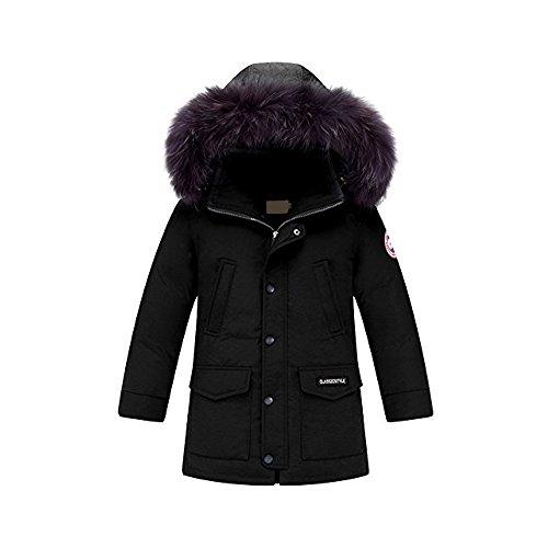 OCHENTA Garçon Manteau Rembourré Blouson Hiver Automne Doudoune Chaud Capuche Zip Vêtement Enfant Noir-170cm