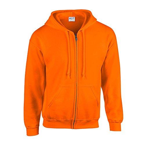 Gildan - Kapuzen-Sweatjacke 'Heavyweight Full Zip' / Safety Orange, XL
