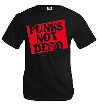 T-Shirt Punks not dead-S-Black-Red