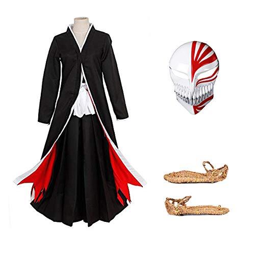 I TRUE ME Costumi Anime Giapponesi Cosplay Bleach Ichigo Bankai Costume Set/Set da 4 Pezzi con Maschera e Sandali Calzini Tabi,L