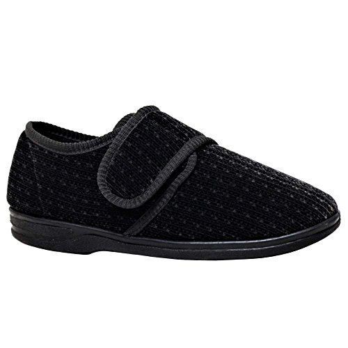 DIABETIC ORTHOPAEDIC MENS EASY CLOSE WIDE FITTING VELCRO STRAP SHOE SLIPPER (9 UK, Black)