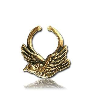 Chic-Net septum Faux Piercing Anneaux de nez oiseau laiton colombe d'or sans nickel antique exotique