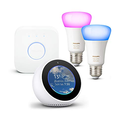Amazon Echo Spot, blanco + Philips Hue White and Color Ambiance -...