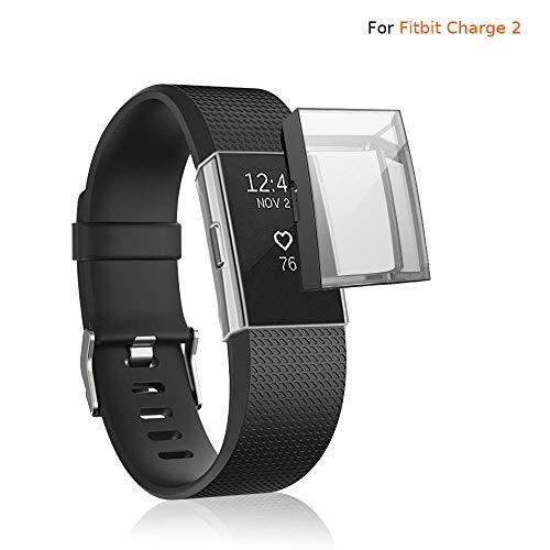 Cooljun Schutzfolie Kompatibel die Fitbit Charge 2, Ultra dünne Schutzhülle Ultradünne Beschichtung Weiche TPU-Schutzhülle aus Silikon für Fitbit Charge 2 Smart Watch (Schwarz)