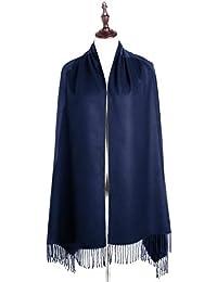 EVRFELAN Women Winter Warm Scarf Soft Cashmere Fringe Tassel Pashmina Pure Color Shawl Stole Wrap (Navy Blue)