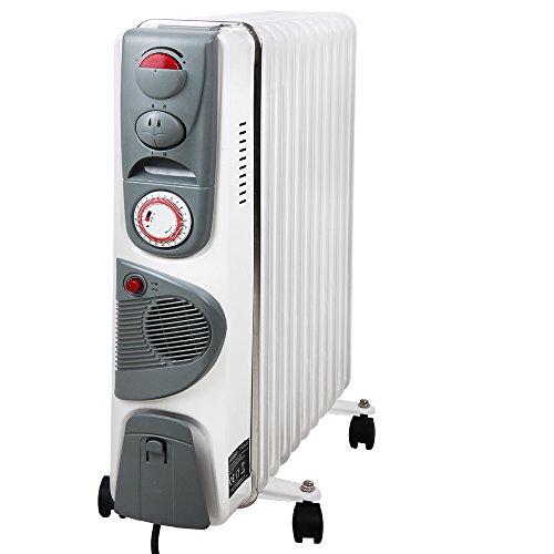 Elektrische Heizung Öl Radiator mit 11 Rippen und Lüfter 2500W Elektroheizung Mobil Timer Lüfter Abschaltautomatik stufenlose Temperaturregelung Überhitzungsschutz