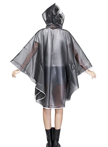 Cystyle Damen Transparent Regenponcho Regenumhang Motorad Regenmantel Regenjacke aus EVA Wasserdichte Trenchcoat Parka Regenkleidung Raincoat Regencape Grau