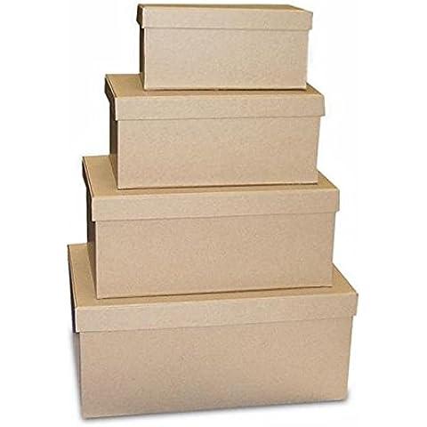 Set 2 scatole cartone rettangolari medie Avana - Decorabilia KC08/2G - Scatola Di Cartone Crafts