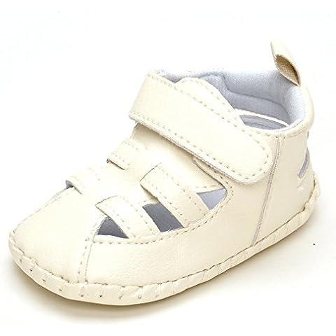De los muchachos de bebé para ' de suela de goma de boles y platos de la tira de sandalias planas de tela con
