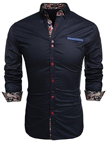 Coofandy camicia da cerimonia uomo manica lunga estiva elegante moda blu scuro l
