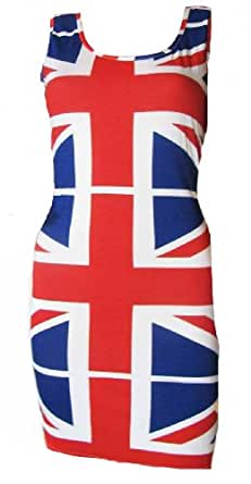 Ladies Union Jack Flag Jubilee Olympics Short Mini Dress / Long Vest Top in Spotted or Plain Flag also Women's plus sizes 16 - 18 & 20 - 22 (16 - 18 SPOTTED FLAG)