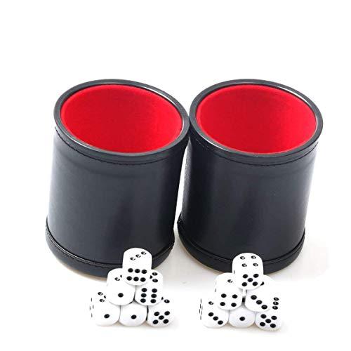 Leder-Würfel-Becher-Set, 2 Stück, Filzfutter, leiser Shaker mit 6 Punkten Würfeln für Farkle Yahtzee Spiele, Schwarz (Leder-würfel-box)