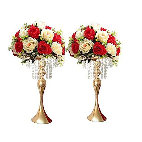 LANLONG 2pcs 43cm (17') Haut Centre de Table de Mariage, bougeoir, Chandelier, Support de Fleur de...