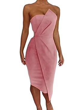 Junkai Donna Vestiti Colore puro Estivi Senza Schienale Vestito a Tubino Sexy Elegante Abito da Spiaggia Banchetto...