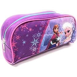 Estuche con Cremallera Niñas Frozen - Practico Estuche Portatodo Escolar con Estampado Elsa y Anna - Morado - Disney Frozen El Reino del Hielo -8,5x21,5x7,5 cm - Perletti