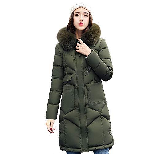 Cappotto donna elegante, feixiang donna invernali giacca corta cappotto caldo con cappuccio collo di pelliccia sintetico giubbotto trapuntata, m,l,xl,xxl,xxxl