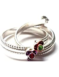 Emotionz Genuine Silver Toe Ring With Pink And Green Stones For Women/teej Gift/Indian Jewellery/Indian Bride/...