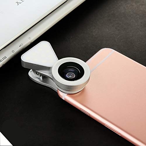 LED selfie lumière d'appoint 15X Macro Set large objectif 3 en 1 lentille de téléphone externe Objectif grand-angle réglable lumière de remplissage de téléphone portable,Argent