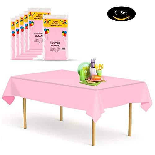 nweg [6 Set], Tischdecke Plastik Garten Tischdecke 137x274cm Rechteckig Tischtuch Ideal für Parteien Feste Hochzeit, Indoor Outdoor Einweg Tischdecken Hell-Pink ()