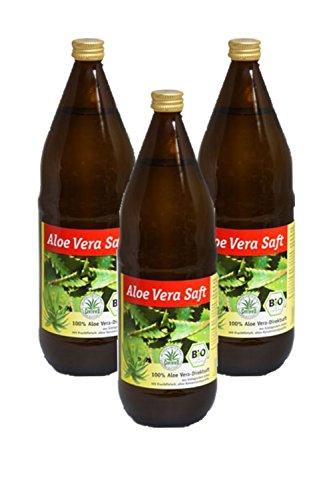 Bio Aloe Vera Saft, 100 % Direktsaft in der Glasflasche, 3 x 1000ml