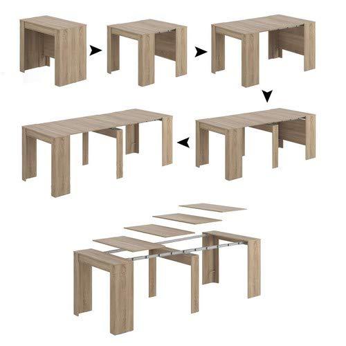 Esidra tavolo allungabile consolle legno 235 cm, rovere, 4 allunghe, 90 x 50 x 78 cm