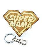 LIKE-TAG Super Mamá Llavero Original de Madera Grabado Regalo para día de la Madre cumpleaños Adorno Bolsa Mochila