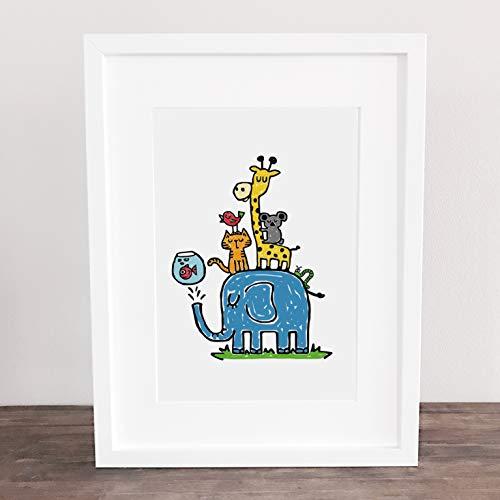 Bild, Poster, Kunstdruck, Kinderbild, Kinderzimmer, Geburt, Elefant, Giraffe, Tiger, Koala, Vogel, Tiere