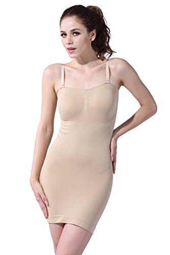 FranatoDamen Miederkleid, Einfarbig Beige Nude (Shaper Gefüttert)