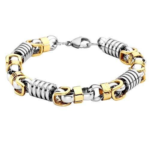 PiercingJ - Bijoux Bracelet Laser Grec Grecque Lien Poignet Chaine de Main Motard Biker Acier Inoxydable Classique Homme avec Boite Cadeau Argent Or