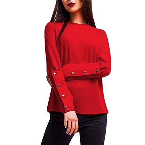 Lucky Mall Frauen Plaid Printed V-Neck Shirt, Unregelmäßige Langarmbluse