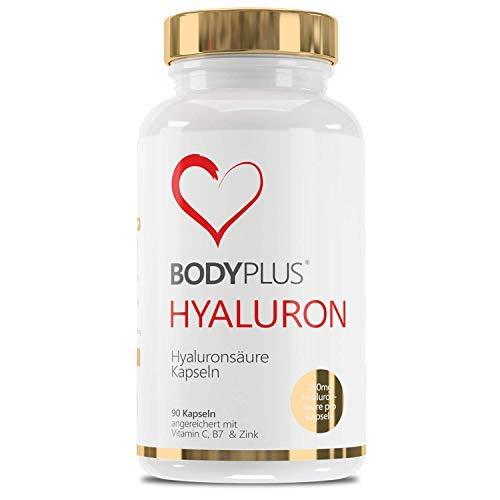 Hyaluronsäure Kapseln Hochdosiert mit 700mg 90 Vegane Kapseln Angereichert mit Vitamin C, Biotin Zink - Für Haut Haare, Anti-Aging, und Gelenke Bodyplus