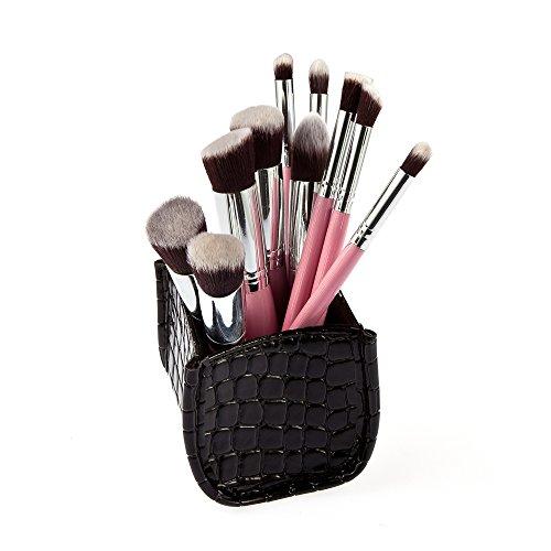 Set 10pcs Pinceaux de Maquillage Brosses avec Boîte Organisateur - Noir 09
