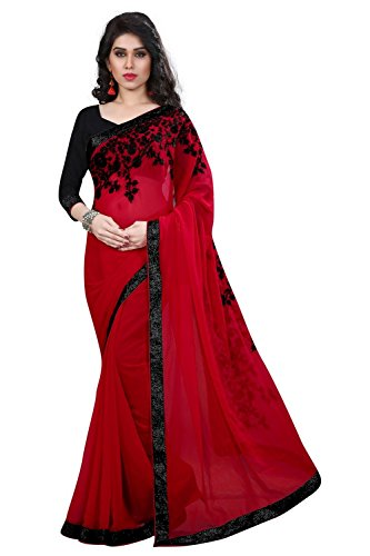 Macube Women's Latest Red and Black Color Embroidered work saree with blouse...