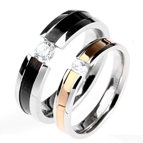 g Paarringe Edelstahl Silber Hochzeitsband Rosa,Schwarz,Frau:55(17.5)&Mann:57(18.1) ()