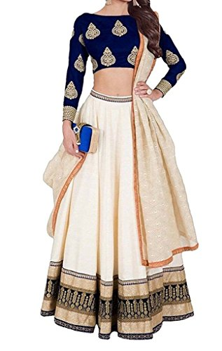 Varona Creation Women's Embroidary Lehenga Choli (Color: Blue And Cream Free Size)