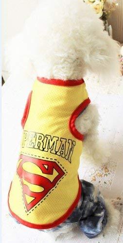 Farbe Kostüm Superman - Doggy Kostüm Frühling und Sommer Haustier Kleidung Hund Kleidung Hund Superman cool Mesh Weste (Farbe: Blau, Größe: M) Haustier-Hundekleidung (Farbe : Yellow, Größe : L)
