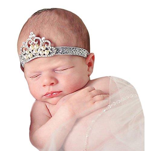 Stirnbänder, GJKK Baby Mädchen Crown Haarband Prinzessin Kristall Perle Crown Stirnband Kopfband Perle Haar Zubehör Prinzessin Kronen Haar-Zusätz Birthday Crown...