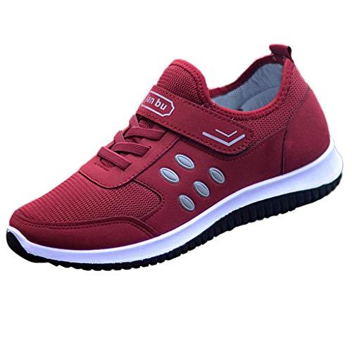 feiXIANG Sneaker Schuhe Damen Sommer Laufschuhe Laufen Mesh Wanderschuhe Ladies Flach Fitnessschuhe (Rot,37)
