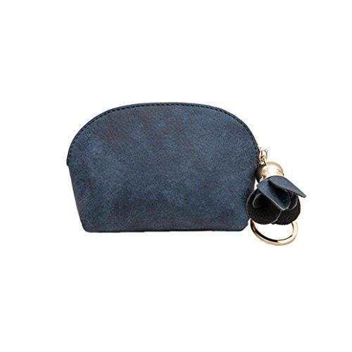 Damen Clutch, VJGOAL Frauen Mädchen Leder Kleine Mini Brieftasche Halter Zip Geldbörse Clutch Kleine Handtasche Frau Geschenk (11.8*7.5*3cm, Blau) (Zip-geldbörse)