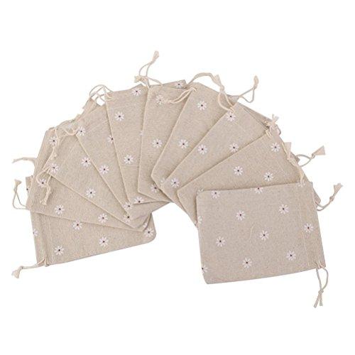 (OULII 10pcs Natürliche Jute Leinen Sackleinen Sack einfache kleine Geschenktaschen Schleife Handtasche Gänseblümchen Blume Jewery Handtasche Hochzeit begünstigt 10x 14cm)