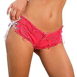 UFACE Damen Jeansshorts Basic in Aged-Waschung Jeans Bermuda-Shorts Kurze Hosen aus Denim für den Damen High Waist Denim Kurze Hose mit Quaste Ripped Loch Hotpants Shorts