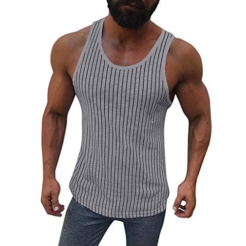 QinMM Männer Fitness Muscle Tops, gestreifter Ärmelloses Bodybuilding dicht trocknende Weste Hemden O-Neck S-XXL